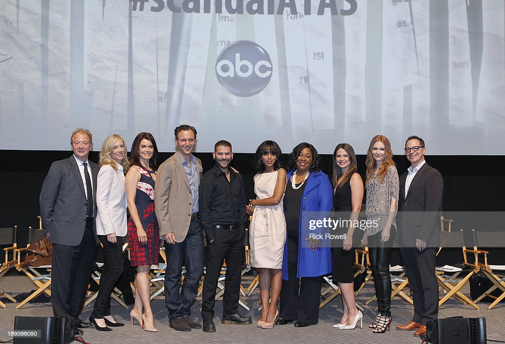 SCANDAL - The cast, guest stars and executive producers of 'Scandal' attended 'An Evening with Scandal' at The Academy of Television Arts & Sciences for their season finale table read and Q&A on Thursday, May 16, 2013. , BELLAMY YOUNG, TONY GOLDWYN, GUILLERMO DIAZ, KERRY WASHINGTON, SHONDA RHIMES (CREATOR/EXECUTIVE PRODUCER), KATIE LOWES, DARBY STANCHFIELD, JOSHUA MALINA