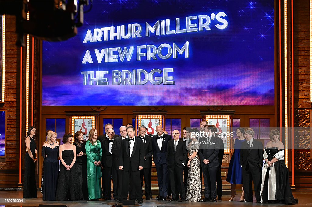 The cast of 'A View from the Bridg' accepts the Tony award for Best Revival of a Play onstage during the 70th Annual Tony Awards at The Beacon Theatre on Jnue 12, 2016 in New York City.