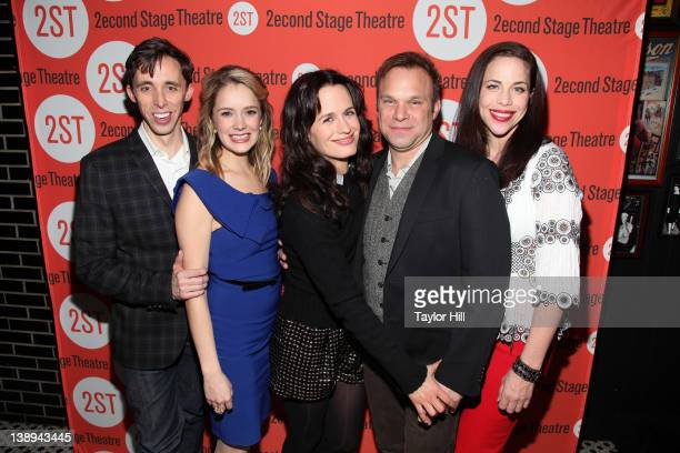 The cast of actors Kevin Cahoon Marnie Schulenberg Elizabeth Reaser Norbert Leo Butz and Jennifer Regan attend the offBroadway opening night after...