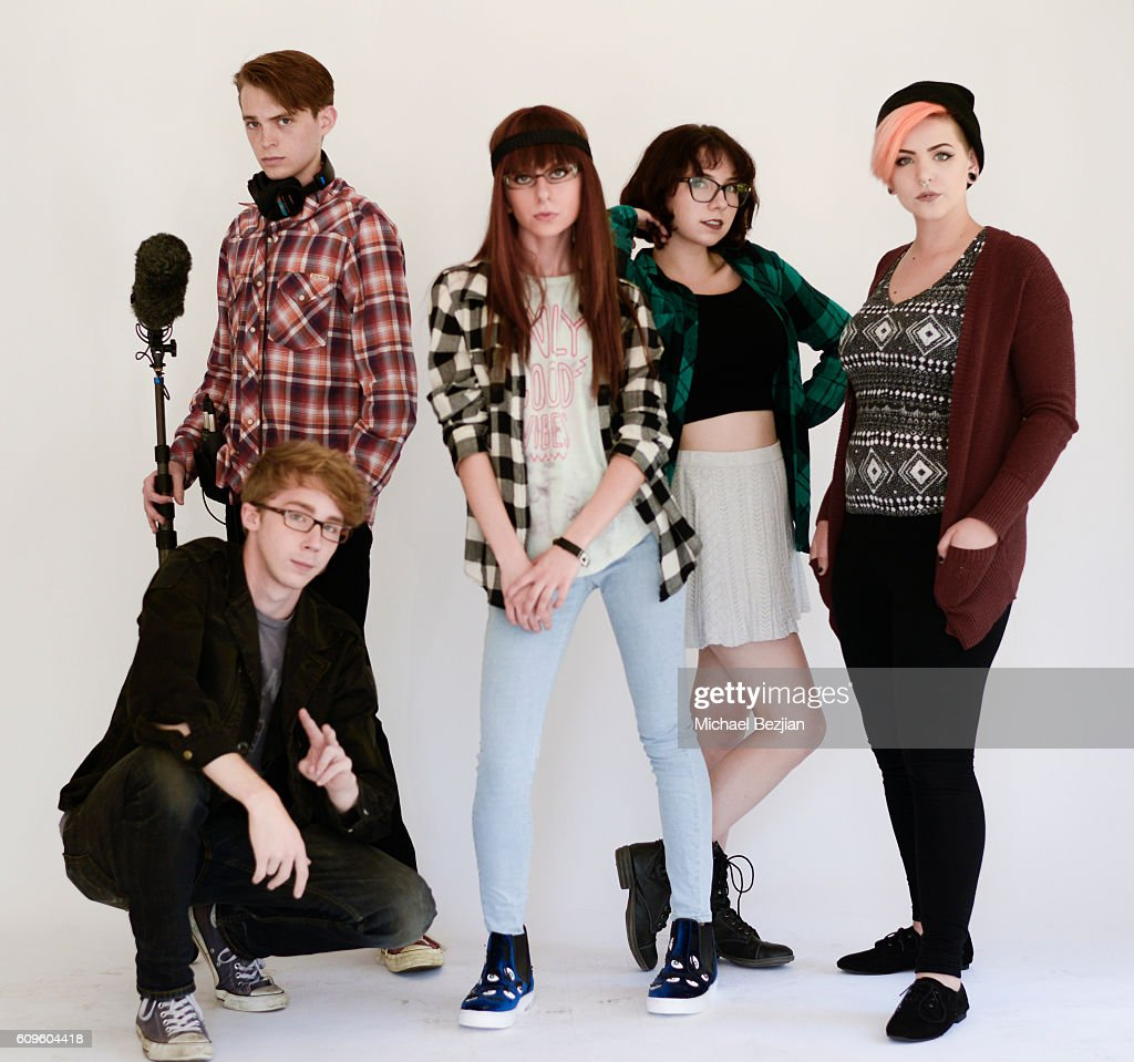 The cast of Astrid Clover pose for portrait at Portrait Day at The Starving Artists Project on September 21, 2016 in Los Angeles, California.