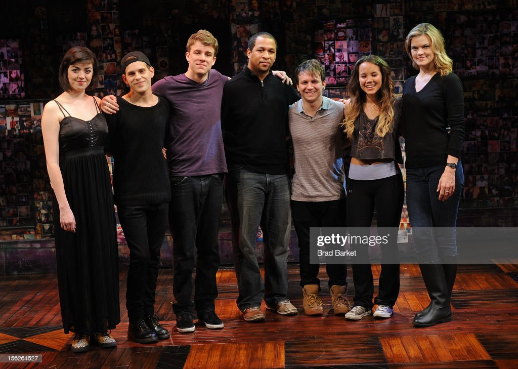 The cast of 'Bare' Barrett Wilbert Weed, Taylor Trensch, Jerold E. Solomon, Gerard Canonico, Elizabeth Judd and Missi Pyle attend the 'Bare' Press Rehearsal at New World Stages on November 12, 2012 in New York City.