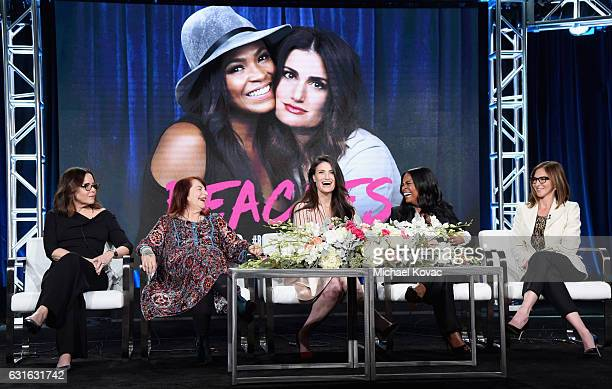 The cast of 'Beaches' speak onstage during the Lifetime portion of the 2017 Winter Television Critics Association Press Tour at Langham Hotel on...