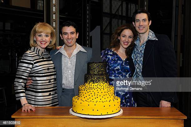 The cast of 'Beautiful The Carole King Musical' Anika Larsen Jarrod Spector Jessie Mueller and Scott J Campbell celebrates 1 year on Broadway at...