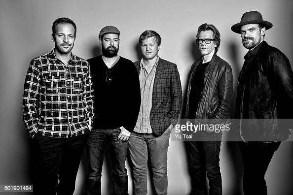 The cast of 'Black Mass' actors Peter Sarsgaard Rory Cochrane Jesse Plemons Kevin Bacon and David Harbour are photographed at the Toronto Film...