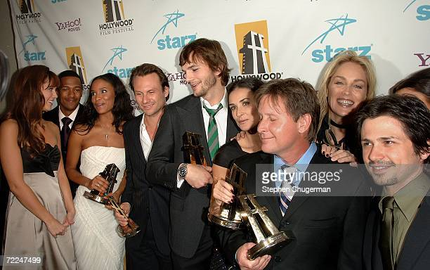 The cast of 'Bobby' pose with the Ensemble award in the press room at The Hollywood Film Festival 10th Annual Hollywood Awards Gala Ceremony at the...