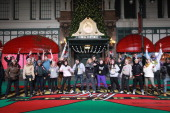 The cast of 'Bring it On' performs during day two of the 86th Anniversary Macy's Thanksgiving Day Parade Rehearsals at Macy's Herald Square on...