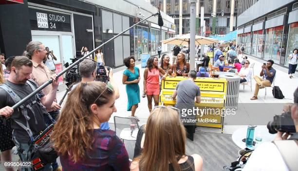 The cast of Broadway's 'Beautiful The Carole King Musical' unveil a special 'Sing For Hope' Piano with a public PopUp performance at One Penn Plaza...