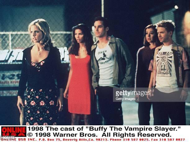 The cast of 'Buffy The Vampire Slayer' From lr Sarah Michelle Gellar Charisma Carpenter Nicholas Brendon Alyson Hannigan and Seth Green