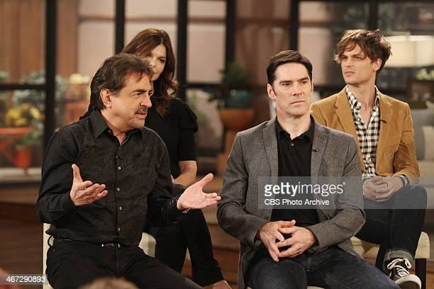 The cast of CBS's 'Criminal Minds' celebrate their 200th episode on THE TALK Wednesday February 5 2014 on the CBS Television Network From left Thomas...