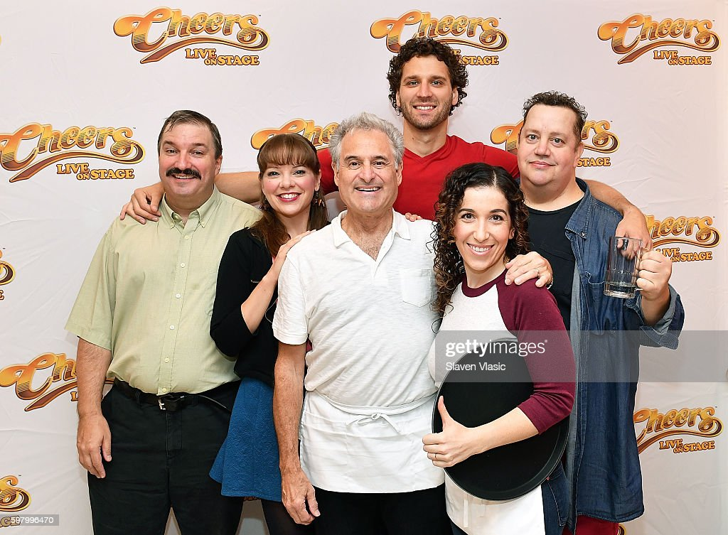 The cast of 'Cheers Live on Stage' Buzz Roddy Jillian Louis Barry Pearl Grayson Powell Sarah Sirota and Paul Vogt pose for photo during the 'Cheers...