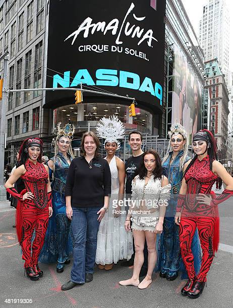 The cast of Cirque du Soleil's 'Amaluna' pose with Amaluna Company Manager Jamie Reilly and Artistic Director James Hadley rings the closing bell at...