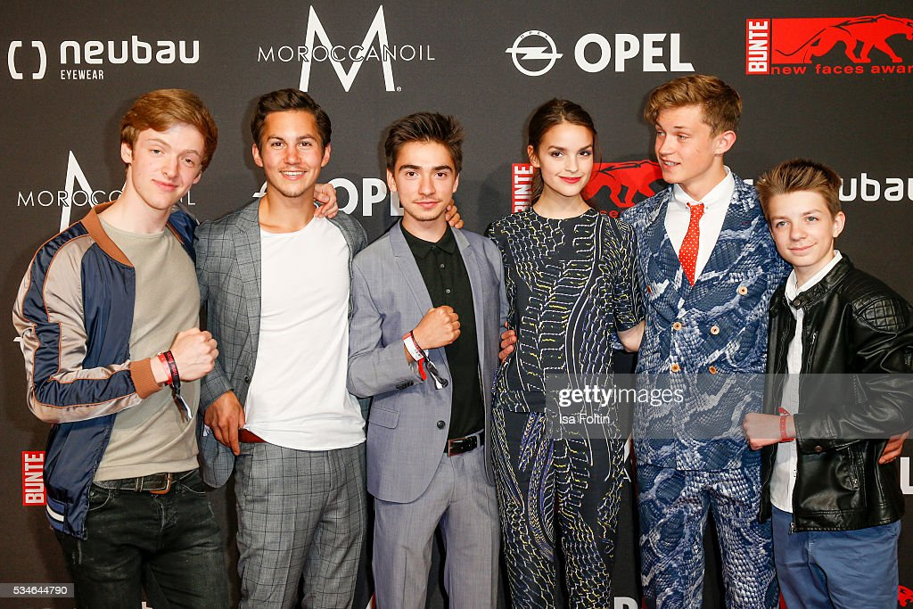 The cast of 'Club der roten Baender' with Timur Bartels, Tim Oliver Schultz, Ivo Kortlang, Luise Befort, Damian Hardung and Nick Julius Schuck attend the New Faces Award Film 2016 at ewerk on May 26, 2016 in Berlin, Germany.