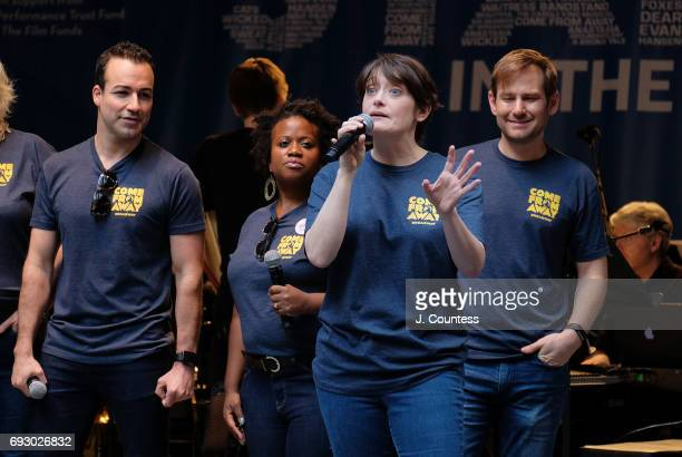 The cast of 'Come from Away' performs at the 2017 Stars In The Alley at Shubert Alley on June 2 2017 in New York City