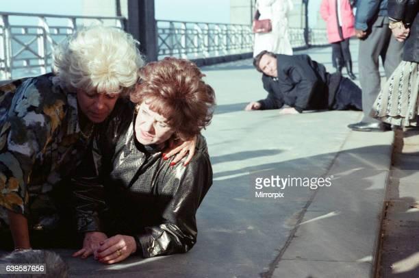The cast of 'Coronation Street' filming scenes for death of Alan Bradley storyline in Blackpool Julie Goodyear as Bet Lynch Barbara Knox as Rita...