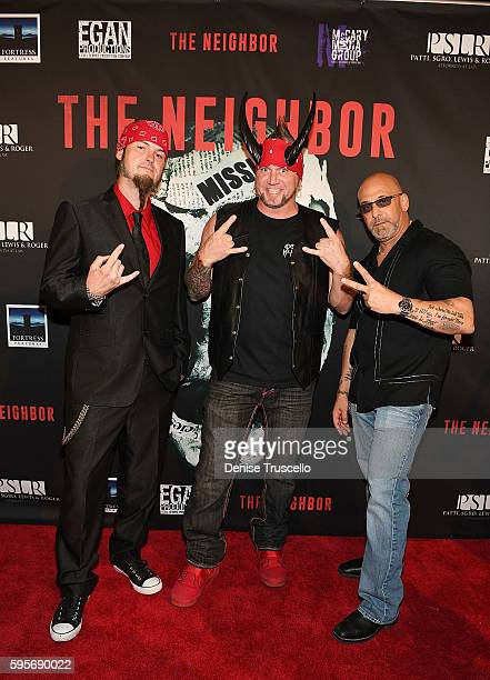 The cast of Counting Cars Ryan Evans Horny Mike and Kevin Mack arrive at the premiere of 'The Neighbor' at Brenden Theaters at Palms Casino Resort on...