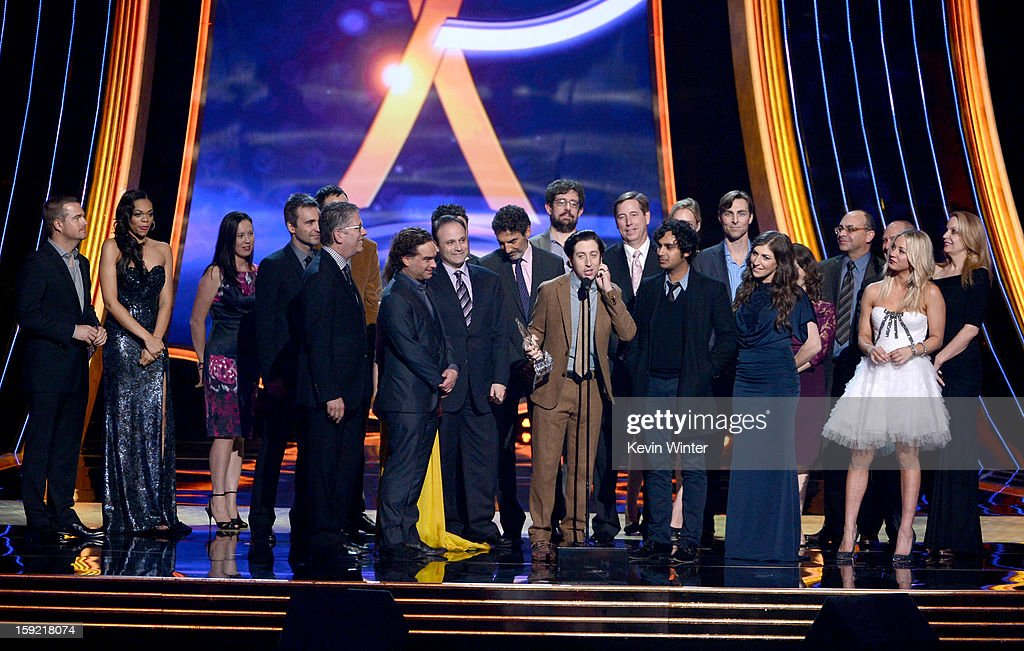 The cast of crew of 'The Big Bang Theory' accept the Favorite Network TV Comedy award onstage at the 39th Annual People's Choice Awards at Nokia Theatre L.A. Live on January 9, 2013 in Los Angeles, California.