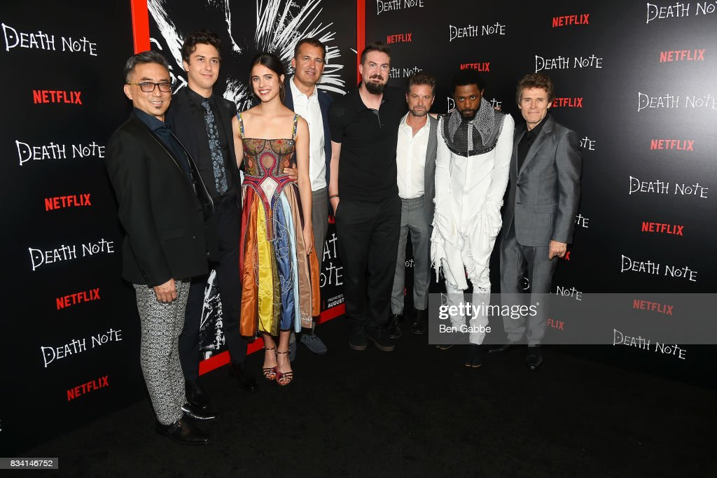 The cast of 'death Note' Paul Nakauchi, Nat Wolff, Margaret Qualley, Scott Stuber, director Adam Wingard, Shea Whigham, LaKeith Stanfield and Willem Dafoe attend the 'Death Note' New York premiere at AMC Loews Lincoln Square 13 theater on August 17, 2017 in New York City.