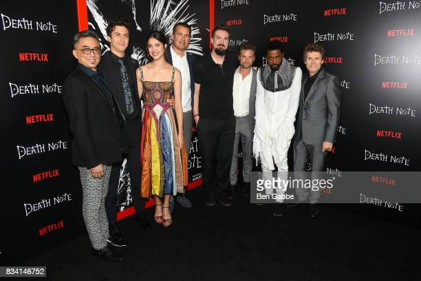 The cast of 'death Note' Paul Nakauchi Nat Wolff Margaret Qualley Scott Stuber director Adam Wingard Shea Whigham LaKeith Stanfield and Willem Dafoe...