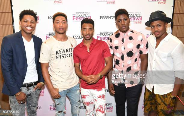 The cast of 'Detroit' Nathan Davis Jr Jacob Latimore Algee Smith Joseph DavidJones and Ephraim Sykes pose in the press room at the 2017 ESSENCE...