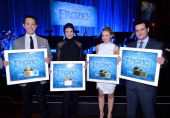 The cast of Disney's 'Frozen' were presented with gold records commemorating the success of the 'Frozen' soundtrack FOR THE FIRST TIME IN FOREVER the...