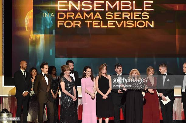 The cast of Downton Abbey accepts the Ensemble in a Drama Series award onstage during The 22nd Annual Screen Actors Guild Awards at The Shrine...