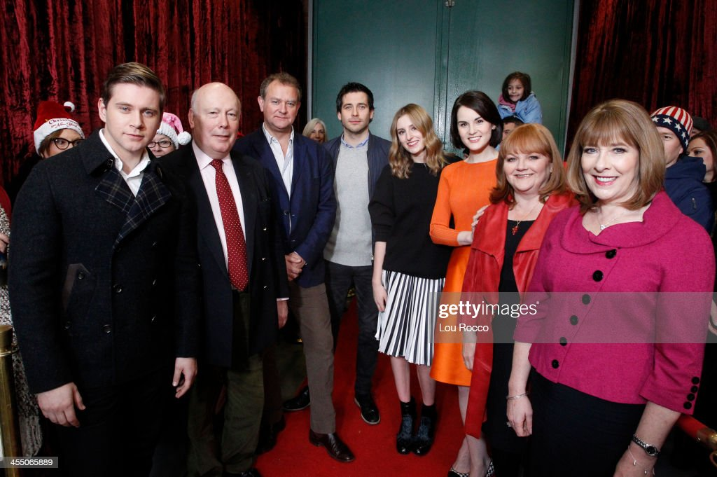 AMERICA - The cast of Downtown Abbey make an appearance on 'Good Morning America,' 12/10/13, airing on the ABC Television Network. (Photo by Lou Rocco/ABC via Getty Images) ALLEN LEECH, JULIAN FELLOWES, HUGH BONNEVILLE, ROB JAMES-COLLIER, LAURA CARMICHAEL, MICHELLE DOCKERY, LESLEY NICOL, PHYLLIS LOGAN