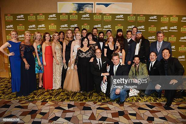 The cast of Duck Dynasty pose with cast members of 'Duck Commander Musical' at the world premiere at Rio All Suite Hotel Casino on April 15 2015 in...