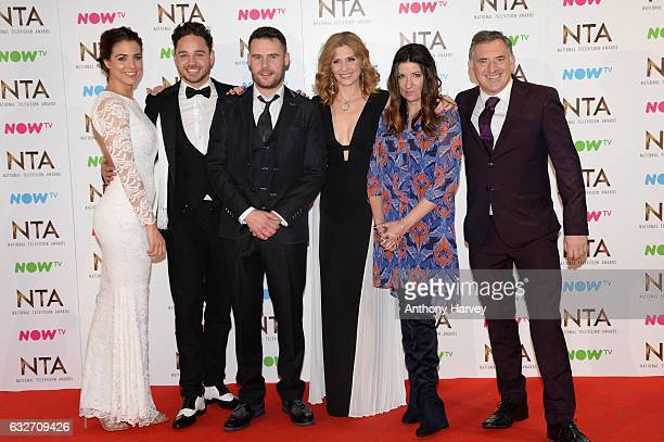 The cast of Emmerdale pose in the winners room Gemma Atkinson Adam Thomas Danny Miller Samantha Giles Katheryn Dow Blyton and Tony Audenshaw at the...