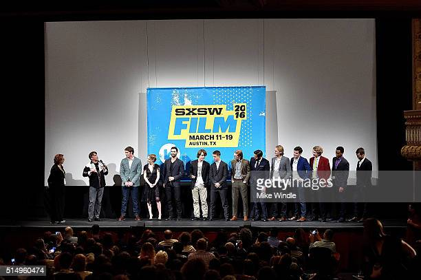 The cast of 'Everybody Wants Some' attends the screening of their film during the 2016 SXSW Music Film Interactive Festival at Paramount Theatre on...