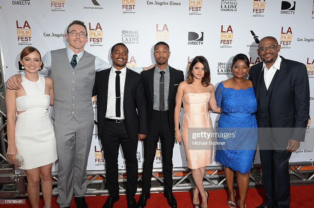 The Cast of Fruitvale Station' <a gi-track='captionPersonalityLinkClicked' href=/galleries/search?phrase=Ahna+O%27Reilly&family=editorial&specificpeople=696424 ng-click='$event.stopPropagation()'>Ahna O'Reilly</a>, <a gi-track='captionPersonalityLinkClicked' href=/galleries/search?phrase=Kevin+Durand&family=editorial&specificpeople=2528352 ng-click='$event.stopPropagation()'>Kevin Durand</a>, <a gi-track='captionPersonalityLinkClicked' href=/galleries/search?phrase=Ryan+Coogler&family=editorial&specificpeople=7316581 ng-click='$event.stopPropagation()'>Ryan Coogler</a>, Michael B. Jordan, <a gi-track='captionPersonalityLinkClicked' href=/galleries/search?phrase=Melonie+Diaz&family=editorial&specificpeople=3323742 ng-click='$event.stopPropagation()'>Melonie Diaz</a>, <a gi-track='captionPersonalityLinkClicked' href=/galleries/search?phrase=Octavia+Spencer&family=editorial&specificpeople=2538115 ng-click='$event.stopPropagation()'>Octavia Spencer</a> and <a gi-track='captionPersonalityLinkClicked' href=/galleries/search?phrase=Forest+Whitaker&family=editorial&specificpeople=226590 ng-click='$event.stopPropagation()'>Forest Whitaker</a> arrive at the premiere of The Weinstein Company's 'Fruitvale Station' at Regal Cinemas L.A. Live on June 17, 2013 in Los Angeles, California.