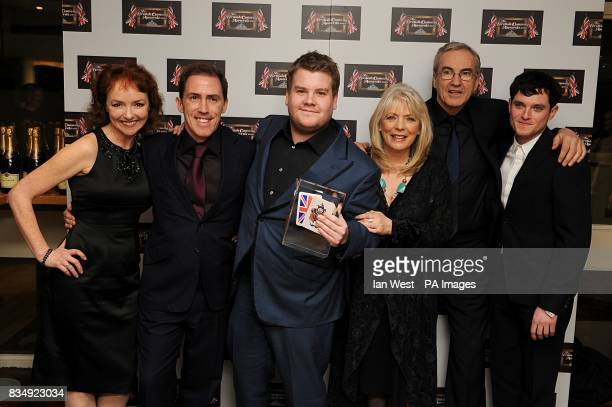 The cast of Gavin and Stacy Melanie Walters Rob Brydon James Corden Alison Steadman Larry Lamb and Mathew Horne with award for Best TV Comedy at the...