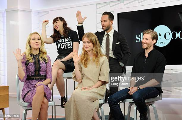 The cast of Good Girls Revolt Anna Camp Erin Drake Genevieve Angelson Chris Diamantopoulos and Hunter Parrish appear On Amazon's Style Code Live on...