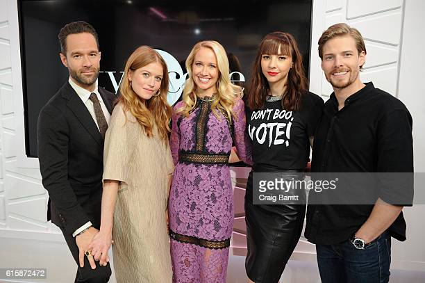 The cast of Good Girls Revolt Chris Diamantopoulos Genevieve Angelson Anna Camp Erin Drake and Hunter Parrish appear On Amazon's Style Code Live on...