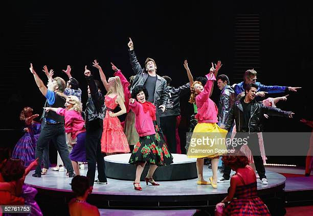 The cast of Grease perform during the 'Grease The Arena Spectacular' Media Call at the Sydney Entertainment Centre May 5 2005 in Sydney Australia