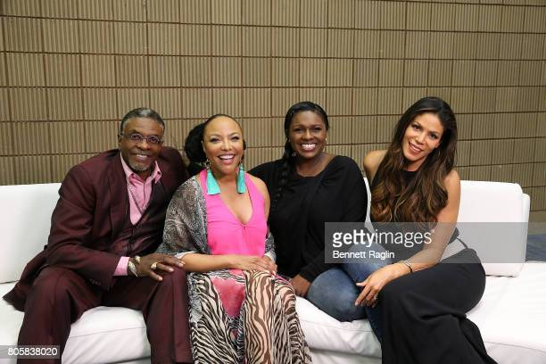 The cast of Greenleaf Keith David Lynn Whitfield Deborah Joy Winans and Merle Dandridge pose a picture backstage during the 2017 Essence Festival Day...