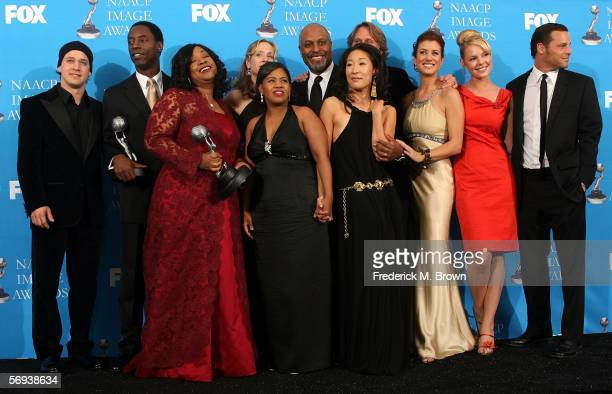 The cast of 'Grey's Anatomy' pose in the press room at the 37th Annual NAACP Image Awards at the Shrine Auditorium on February 25 2006 in Los Angeles...