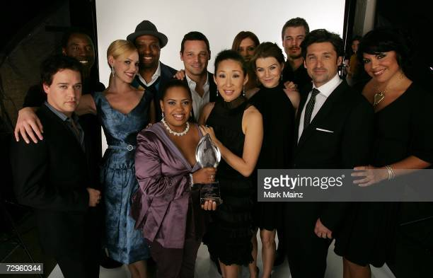 The cast of 'Grey's Anatomy' poses in the portrait studio during the 33rd Annual People's Choice Awards held at the Shrine Auditorium on January 9...
