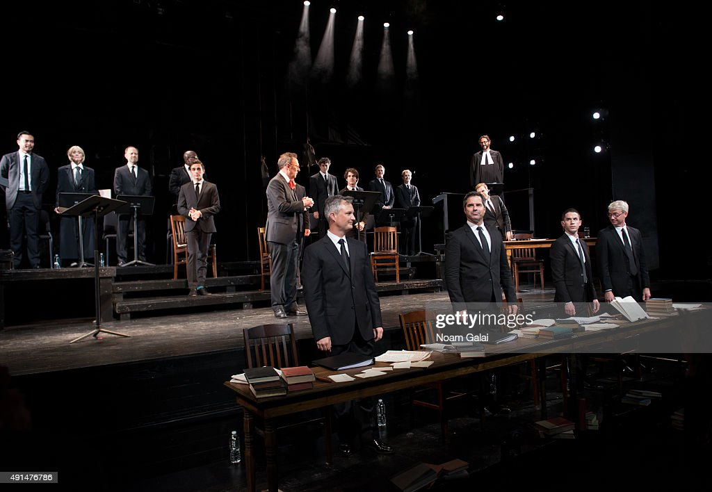 The cast of 'Gross Indecency The Three Trials Of Oscar Wilde' perform onstage during at Gerald W Lynch Theatre on October 5 2015 in New York City