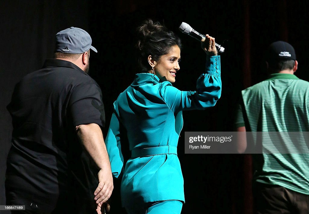 The cast of Grown Ups 2 Kevin James (L) and <a gi-track='captionPersonalityLinkClicked' href=/galleries/search?phrase=Salma+Hayek&family=editorial&specificpeople=201844 ng-click='$event.stopPropagation()'>Salma Hayek</a> onstage during the Sony Pictures Entertainment Invites You to an Exclusive Product Presentation Highlighting its 2013 Films at Caesars Palace during CinemaCon, the official convention of the National Association of Theatre Owners on April 17, 2013 in Las Vegas, Nevada.