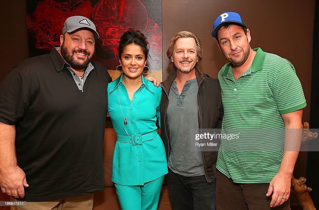 The cast of Grown Ups 2 (L-R) Kevin James, Salma Hayek, David Spade and Adam Sandler pose backstage before the Sony Pictures Entertainment Invites You to an Exclusive Product Presentation Highlighting its 2013 Films at Caesars Palace during CinemaCon, the official convention of the National Association of Theatre Owners on April 17, 2013 in Las Vegas, Nevada.