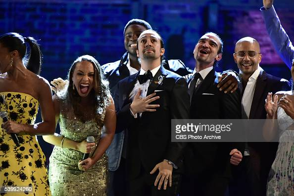 The cast of Hamilton at THE 70TH ANNUAL TONY AWARDS live from the Beacon Theatre in New York City Sunday June 12 on the CBS Television Network