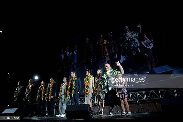 The cast of 'Hawaii 50' on stage before the world premiere of the second season on September 10 2011 in Waikiki Hawaii