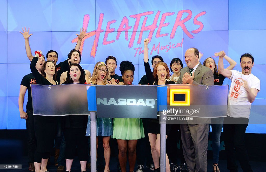 The cast of 'Heathers The Musical' visits the NASDAQ MarketSite on July 3, 2014 in New York City.