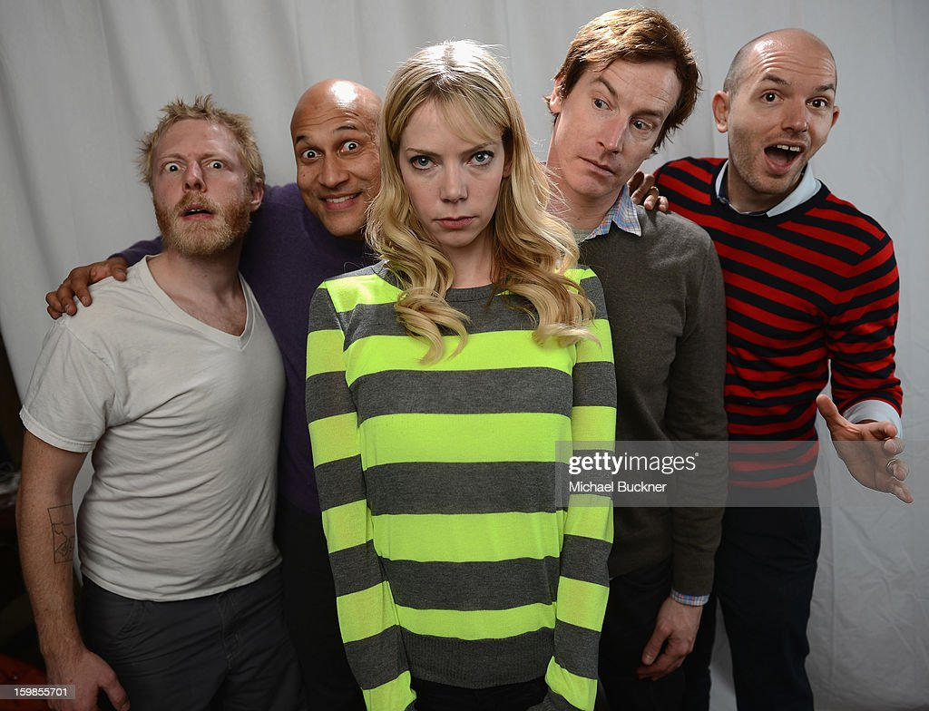 The cast of 'Hell Baby' (L-R) Alex Berg, Keegan Michael Key, Riki Lidnhome, Rob Huebel and <a gi-track='captionPersonalityLinkClicked' href=/galleries/search?phrase=Paul+Scheer&family=editorial&specificpeople=805513 ng-click='$event.stopPropagation()'>Paul Scheer</a> pose for a portrait at the Photo Studio for MSN Wonderwall at ChefDance on January 21, 2013 in Park City, Utah.