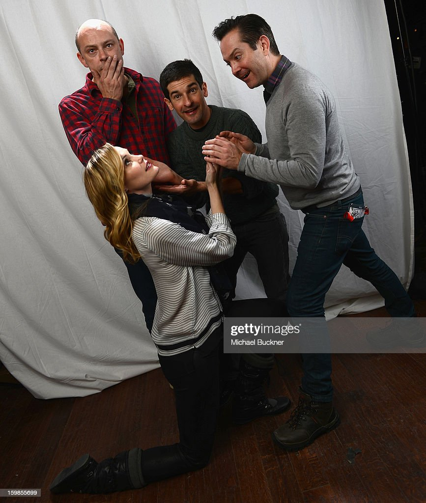 The cast of 'Hell Baby' (L-R) Leslie Bibb, Rob Corddry, Robert Ben Garant and Thomas Lennon pose for a portrait at the Photo Studio for MSN Wonderwall at ChefDance on January 21, 2013 in Park City, Utah.