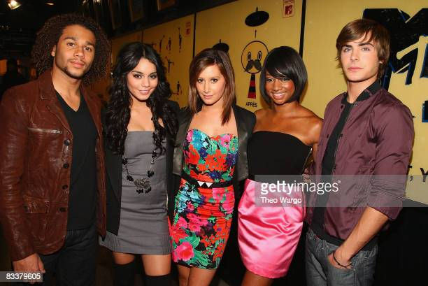 The Cast of 'High School Musical 3' Corbin Bleu Vanessa Hudgens Ashley Tisdale Monique Coleman and Zac Efron visit MTV's 'TRL' at MTV studios in...