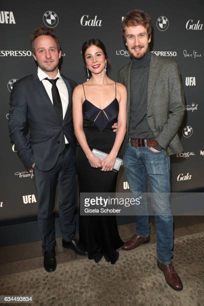 The cast of ' Himmel und Hoelle' Maximilian Brueckner Aylin Tezel and Jan Krauter during the Berlin Opening Night by GALA and UFA Fiction on February...