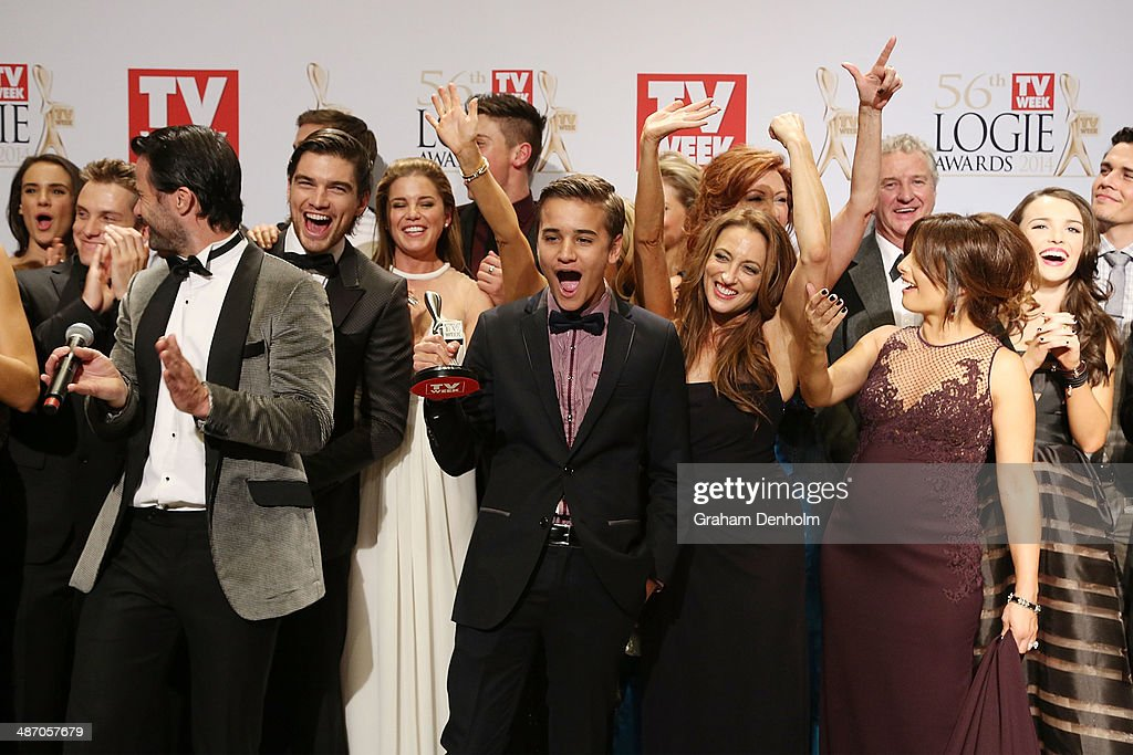 The cast of Home and Away pose in the awards room after winning a Logie for Most Popular Drama Program at the 2014 Logie Awards at Crown Palladium on April 27, 2014 in Melbourne, Australia.
