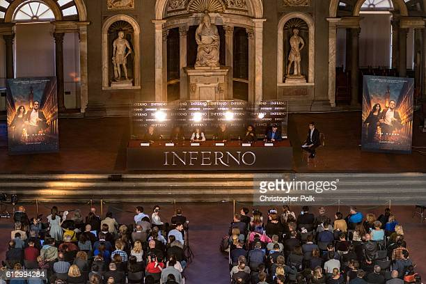 The cast of INFERNO attend the INFERNO Photo Call Press Conference at The Hall of the Five Hundred on October 6 2016 in Florence Italy