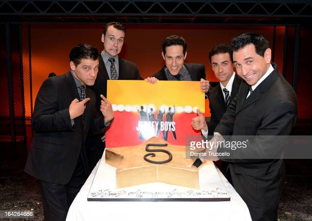 The cast of Jersey Boys Deven May Rob Marnell Jeff Leibow Graham Fenton and Travis Cloer celebrate the 5th anniversary of Jersey Boys at Paris Las...